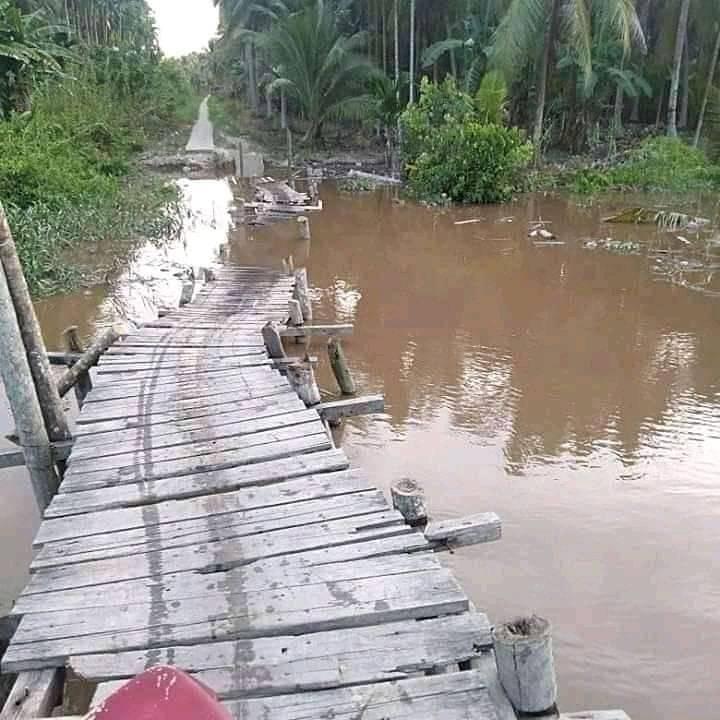 Memprihatinkan, Jembatan Sei. Pinang Desa Nusantara Jaya, Kecamatan Keritang Rusak Parah.