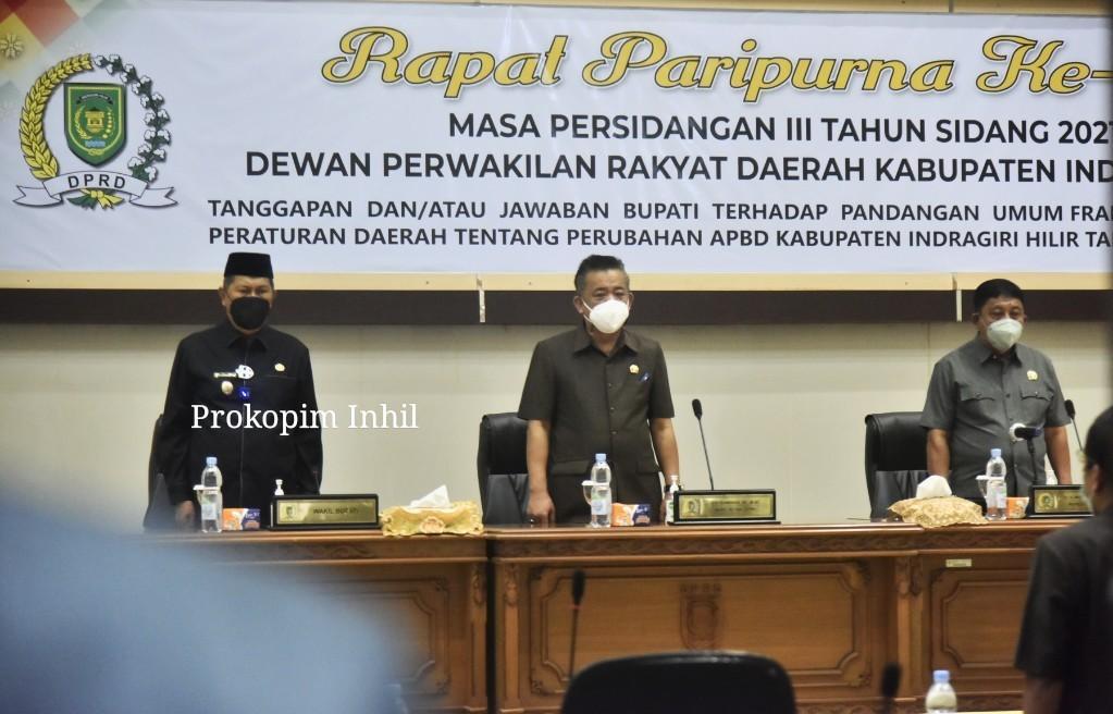 Wakil Bupati H.Syamsuddin Uti Sampaikan Tanggapan Terhadap Pandangan Umum Fraksi-Fraksi Terhadap Penyampaian Nota APBD P T.A 2021
