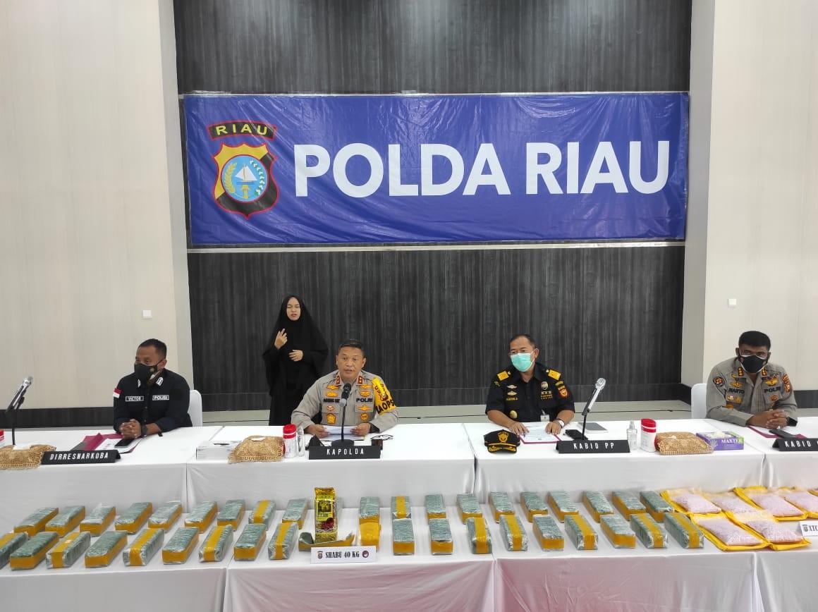 Polda Riau Sukses Ungkap Jaringan Narkoba Internasional, 40 Kg Sabu dan 50.000 Butir Ekstasi Diamankan
