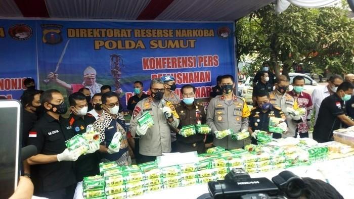 Polda Sumut Musnahkan 151 Kg Sabu-Ribuan Pil Ekstasi dari 31 Kasus Narkoba
